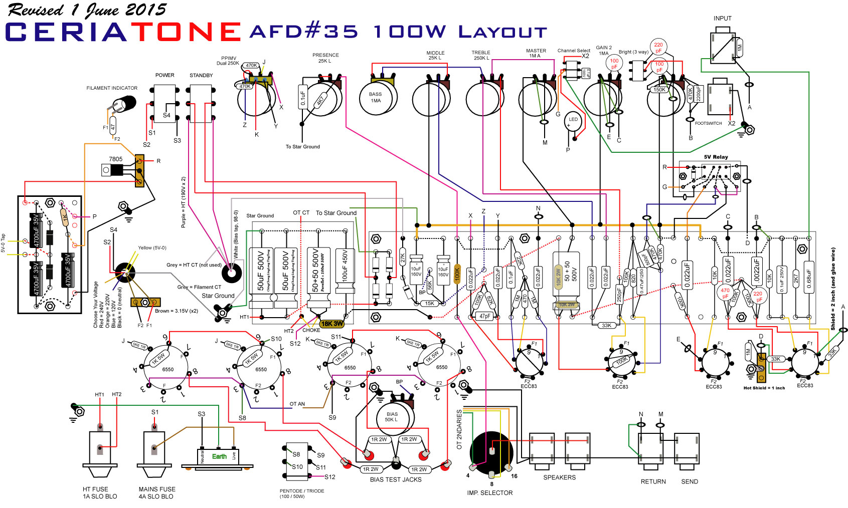 AFD35_100W Hand Wired Tube Amp Wiring Diagram on